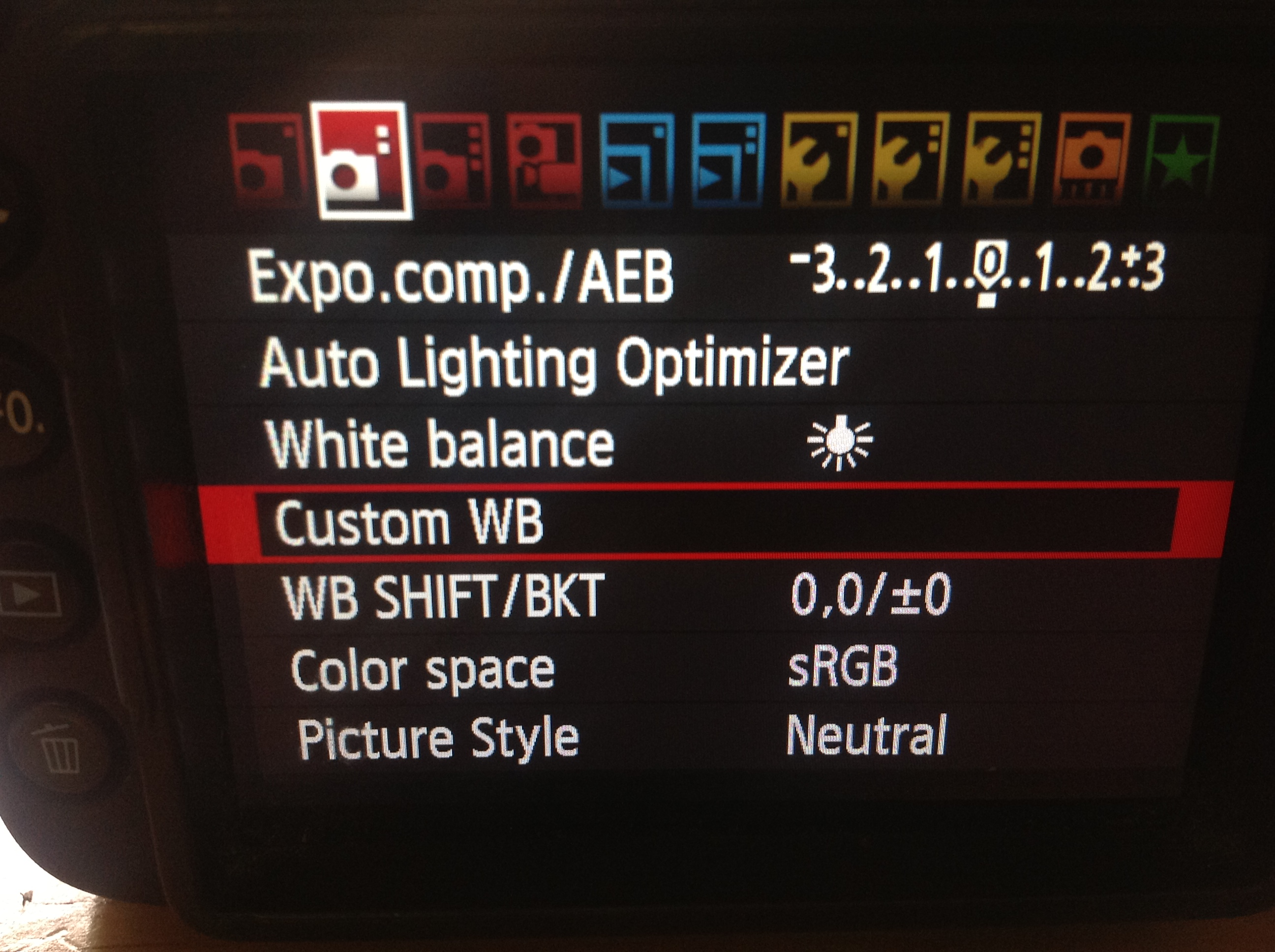 Canon 7d Custom White balance menu